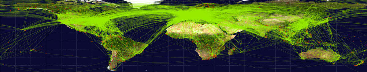 World map with airline routes
