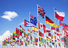 Group of international flags flying