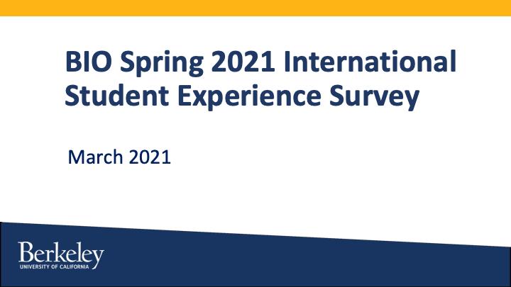 BIO Spring 2021 Student Experience Survey Report