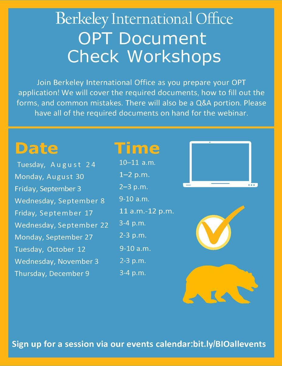 Fall 2021 OPT Document Check Workshop