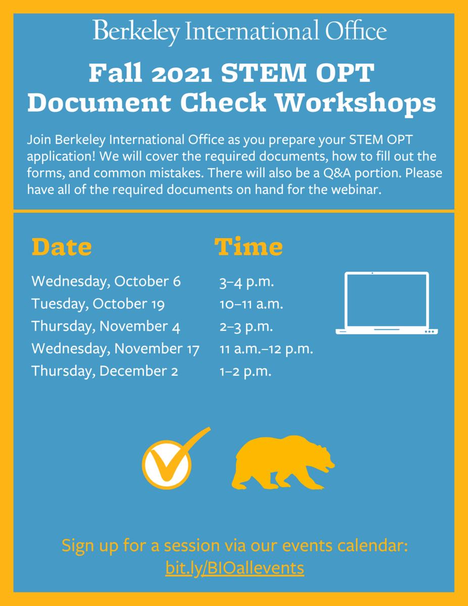 Fall 2021 STEM OPT Document Check Workshop flyer