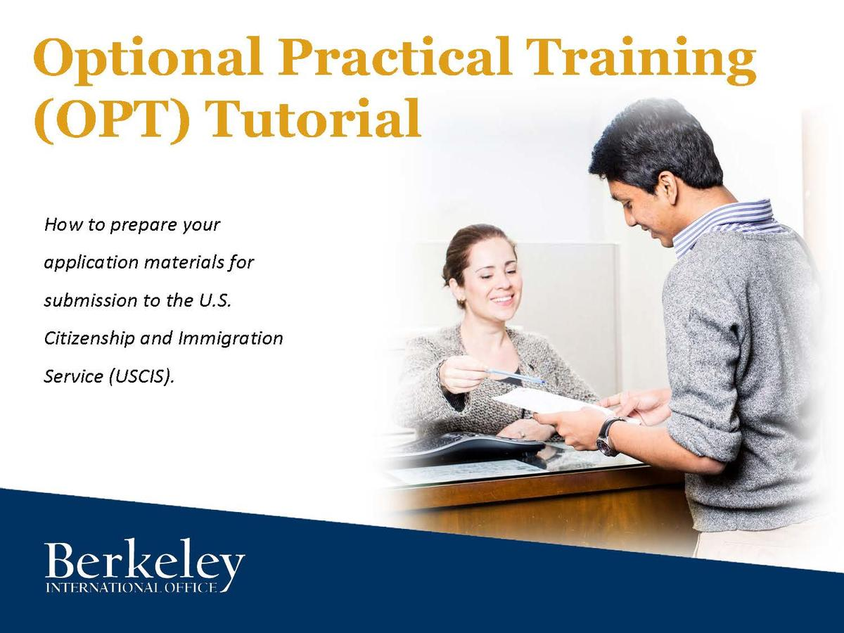 Cover page for the OPT tutorial