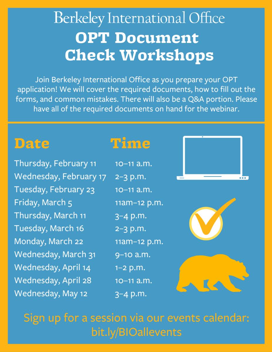 Spring 2021 OPT Document Check Workshop flyer