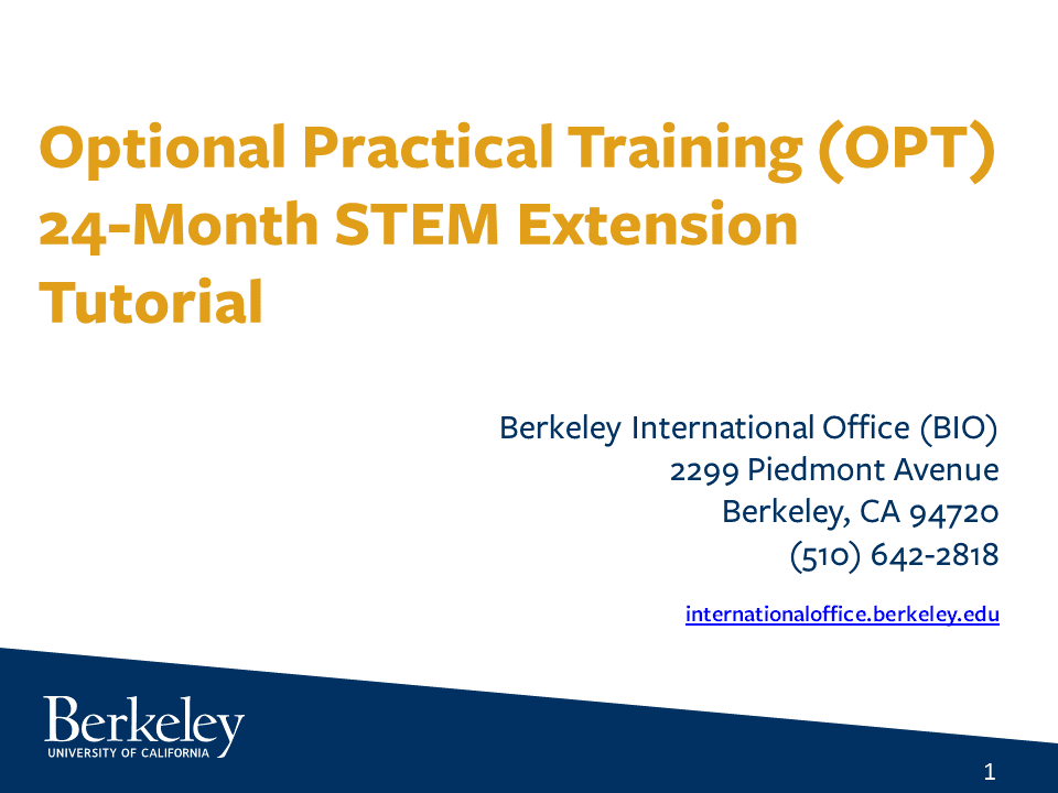 Optional Practical Training (OPT) 24-Month STEM Extension