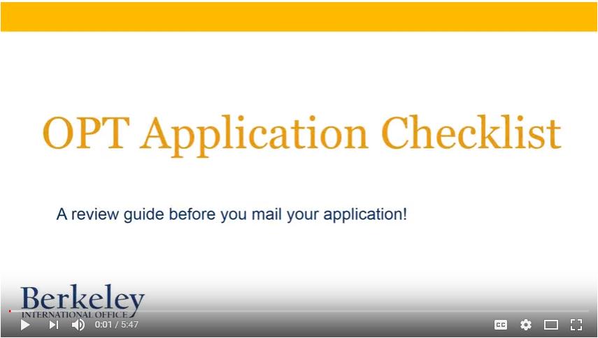 OPT Checklist Video