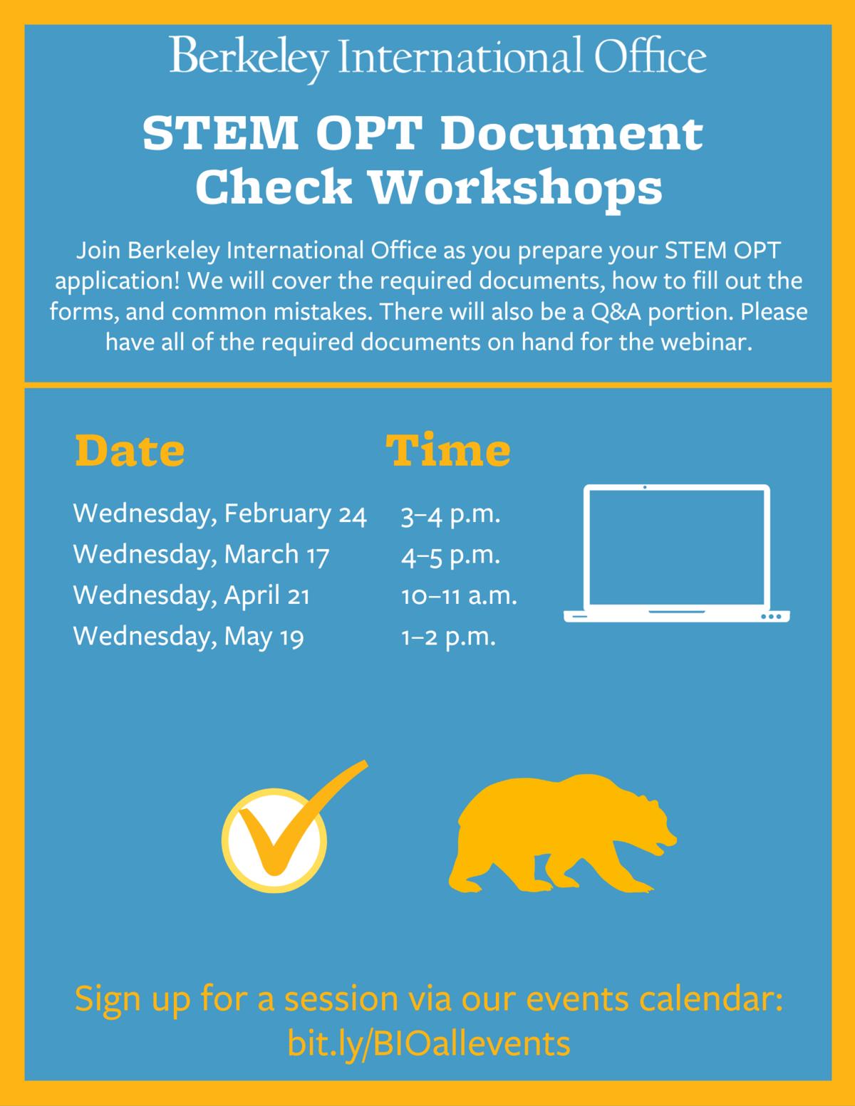 Spring 2021 STEM OPT Document Check Workshops