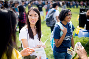 Students at orientation on campus