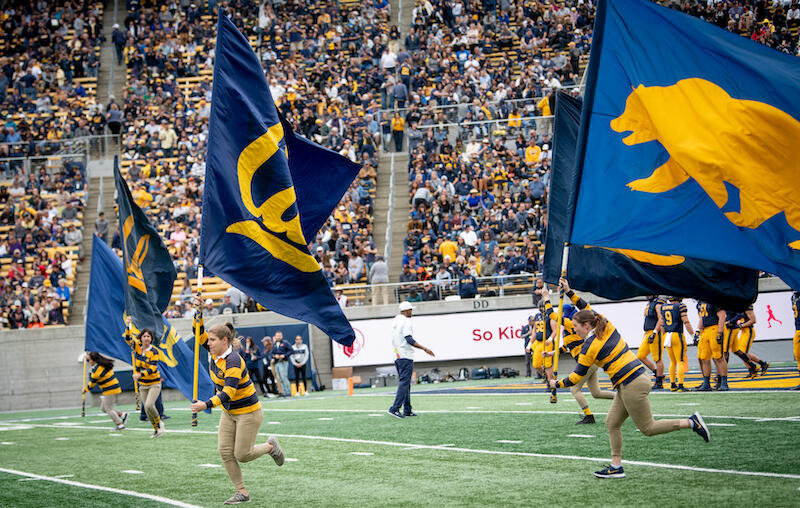 Photo of students holding Cal flags during a sporting event