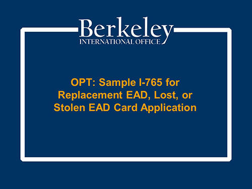 OPT Replacement i-765 Tutorial